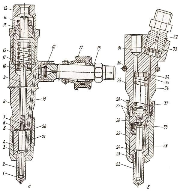 Форсунка двигателя ЯМЗ-236 (а) и двигателя автомобиля КамАЗ-5320 (б)