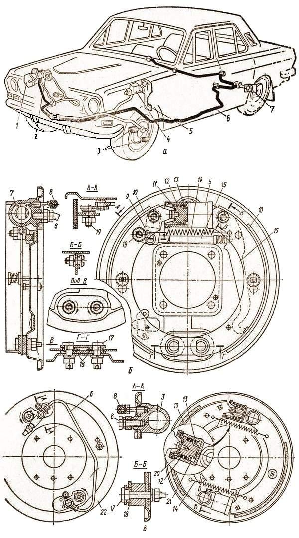 Гидравлический привод тормозов и колесный тормоз