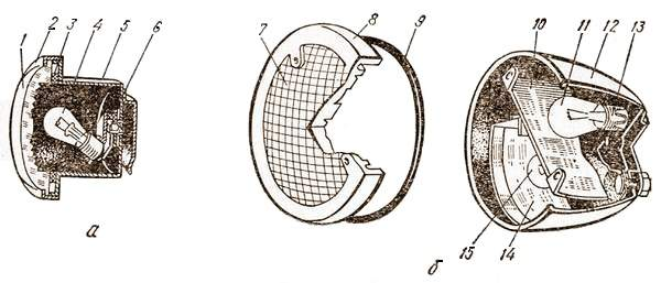Подфарник (а), задний фонарь (б).