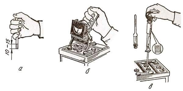 Приборы для проверни уровня (а) и плотности (в) электролита, напряжения (б) аккумулятора