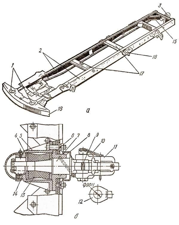 Рама:  а – общее устройство; б – буксирный крюк