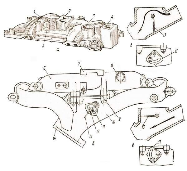 Впускной и выпускной трубопроводы двигателя