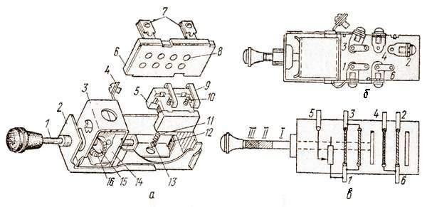 Центральный переключатель света:  а – устройство; б – зажимы; в – схема