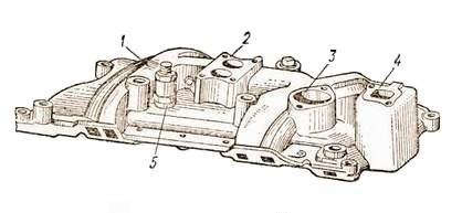 Впускной и выпускной трубопроводы V-образного двигателя