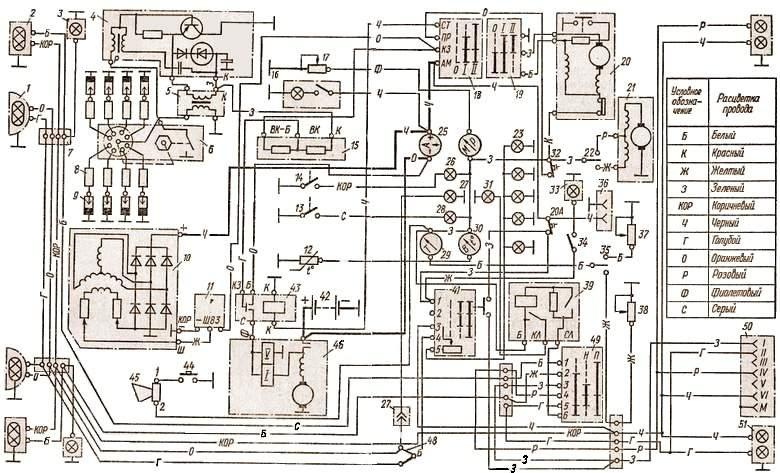 Электрическая схема газ 53 цветная
